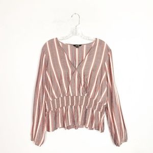 Express striped cross front long sleeve blouse L